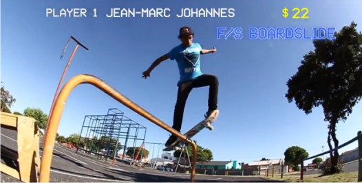 Jean-marc Johannes showing his skateboarding skills