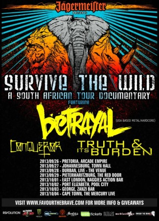 Survive the Wild tour bringing US hardcore band Betrayal to the South African Music scene