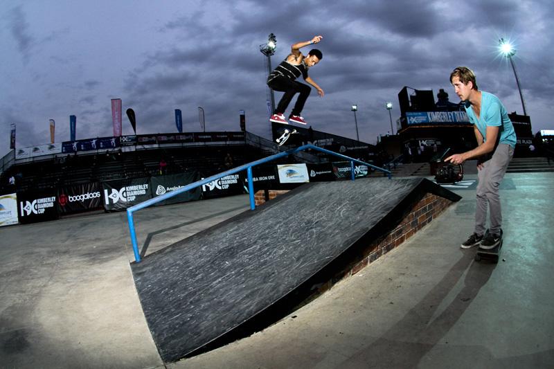 Nyjah Huston Skateboarding at the Kumba Skate Plaza in Kimberley