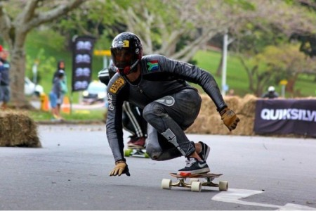 Jason Brown wins the Open Mens division at the Urban Descent downhill skateboarding race