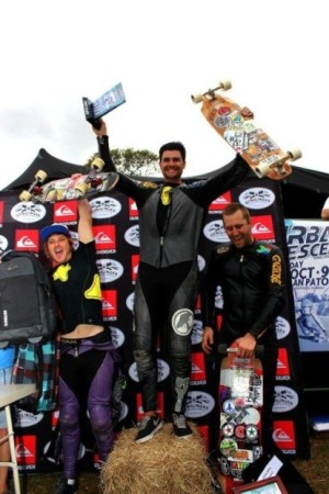 Open mens podium at the Urban Descent downhill skateboarding race