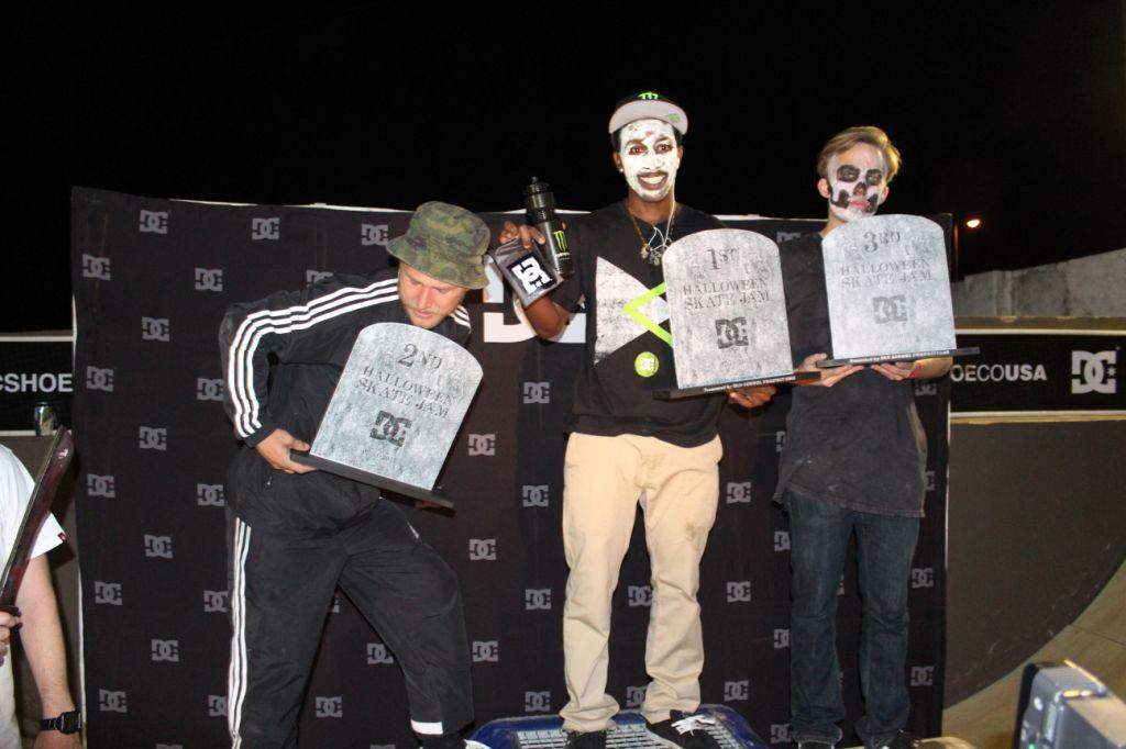 Khule Ngubane takes the top step at the DC Halloween Skateboarding Jam
