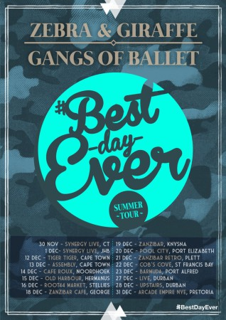 Zebra & Giraffe and Gangs of Ballet set to rock South African Music fan duringt heor Best Day Ever tour this December