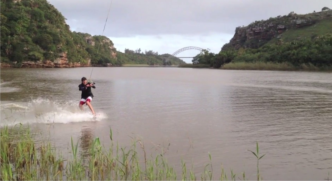 Bryan Loggenberg Wakeskating his way through the Umtamvuna River