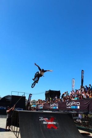 The winner of the BMX contest at Ultimate X 2014, Maxime Charveron