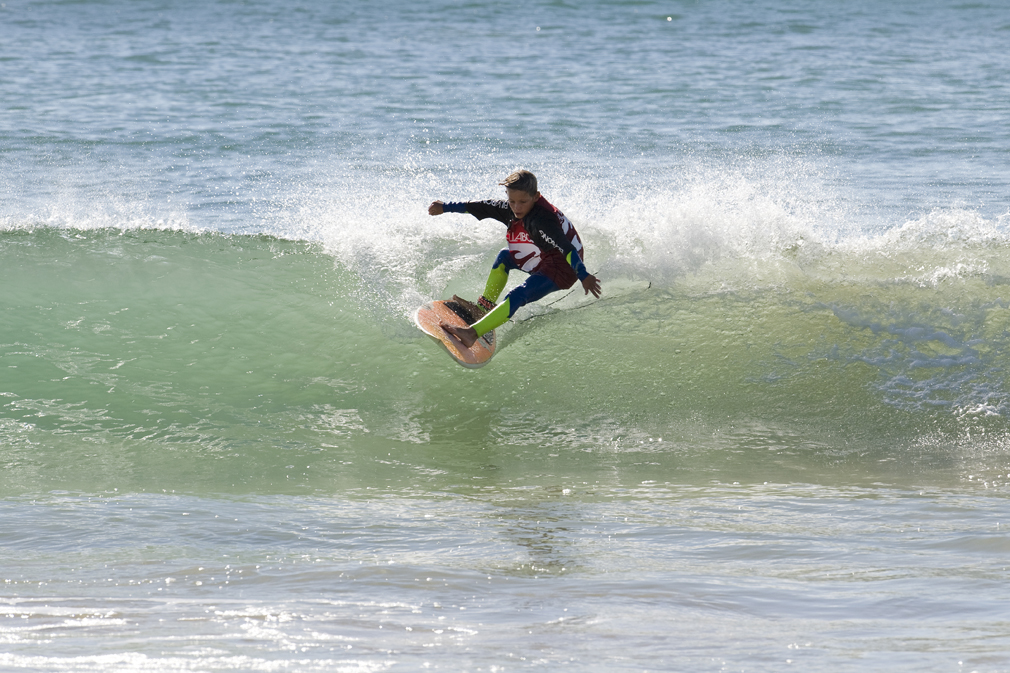 Kyra Bennie winning the U10 division at the Billabong Grommet Surfing Games