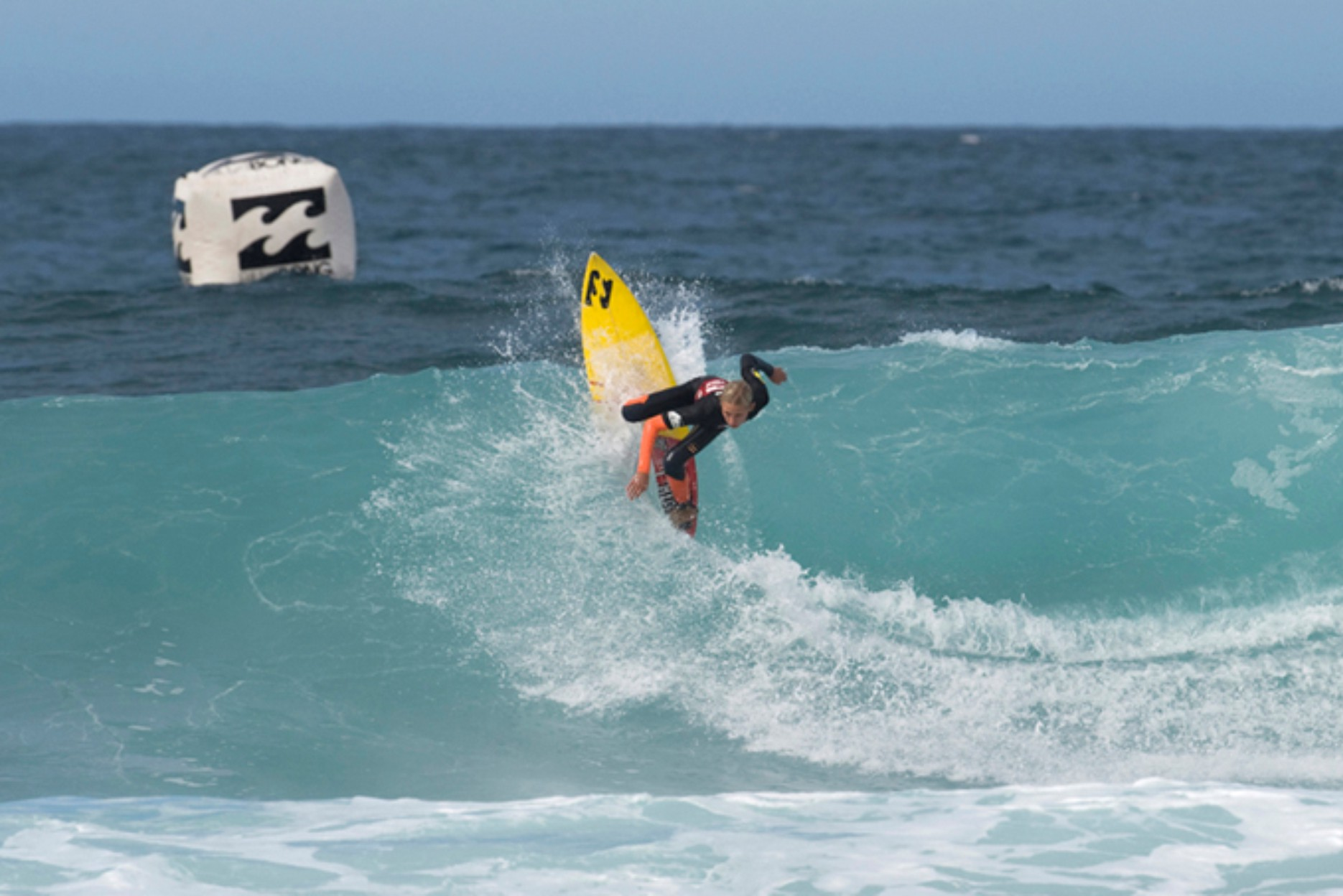 Max Elkington surfing his way to the win in the U16 Boys final at the Billabong Junior Pro