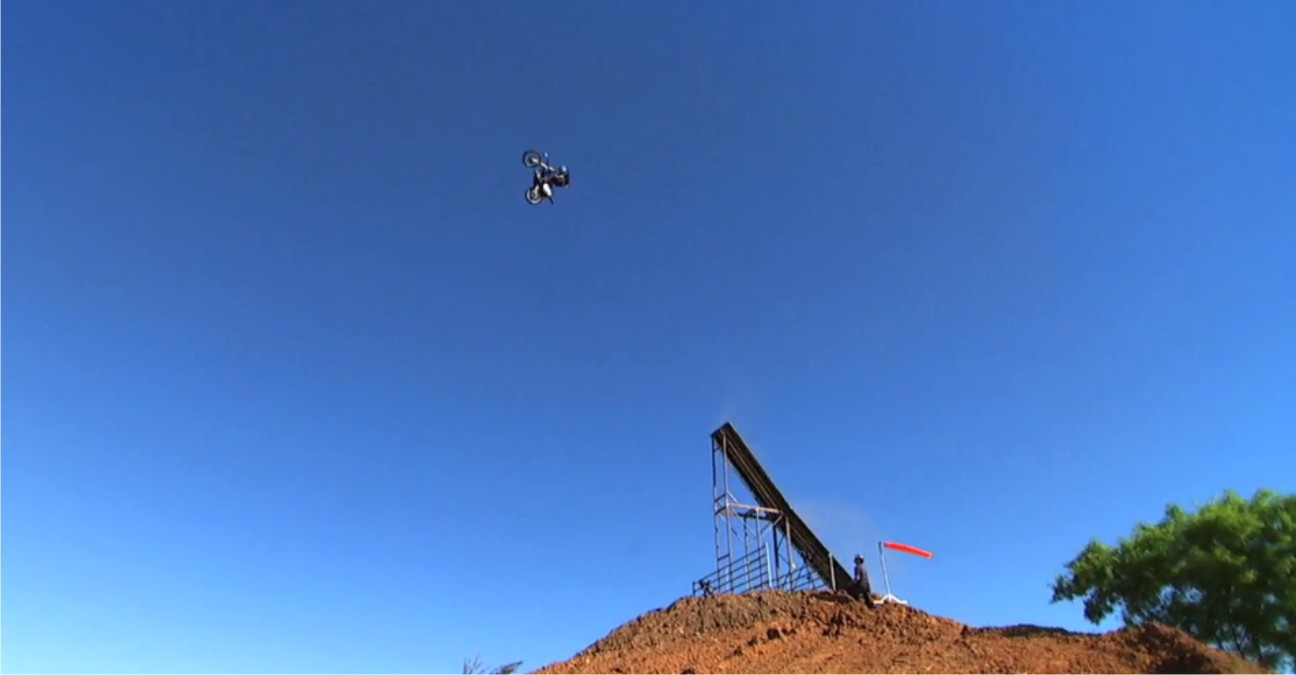 Brad O'Neal attemps the first ever motocross base jump to flat land