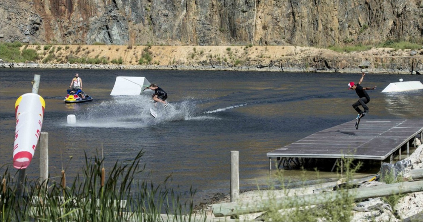 Game of Skate with a twist featuring Skateboarding and Wakeboarding