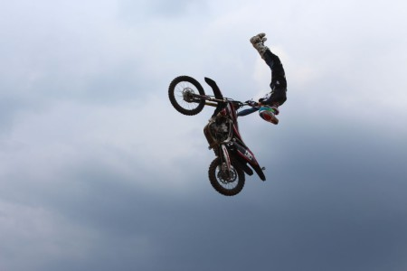 Dallan Goldman putting in an impressive Freestyle Motocross display