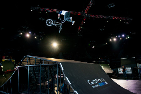 Malcolm Peters laying down a Triple Whip in the BMX finals at Ultimate X 2015