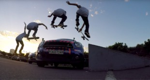 Jean-Marc Johannes skateboarding over a MINI Countryman