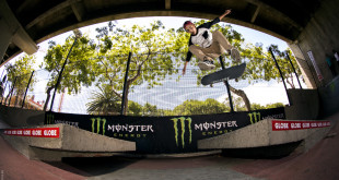 Allan Adams skateboarding his way to the win at the Globe Back 2 Back Bangers contest