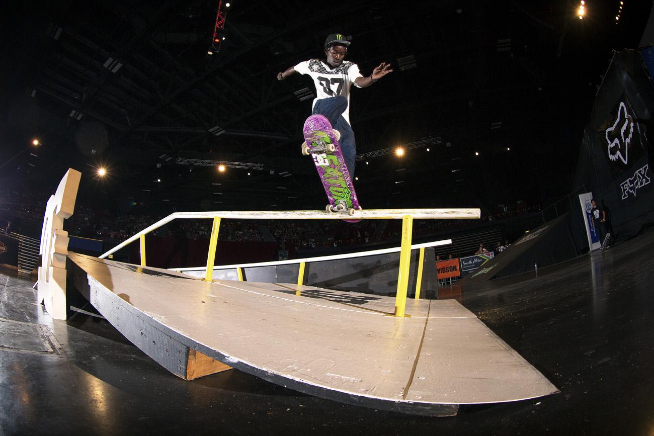 Khule Ngubane durung the Ultimate X Skateboard Finals