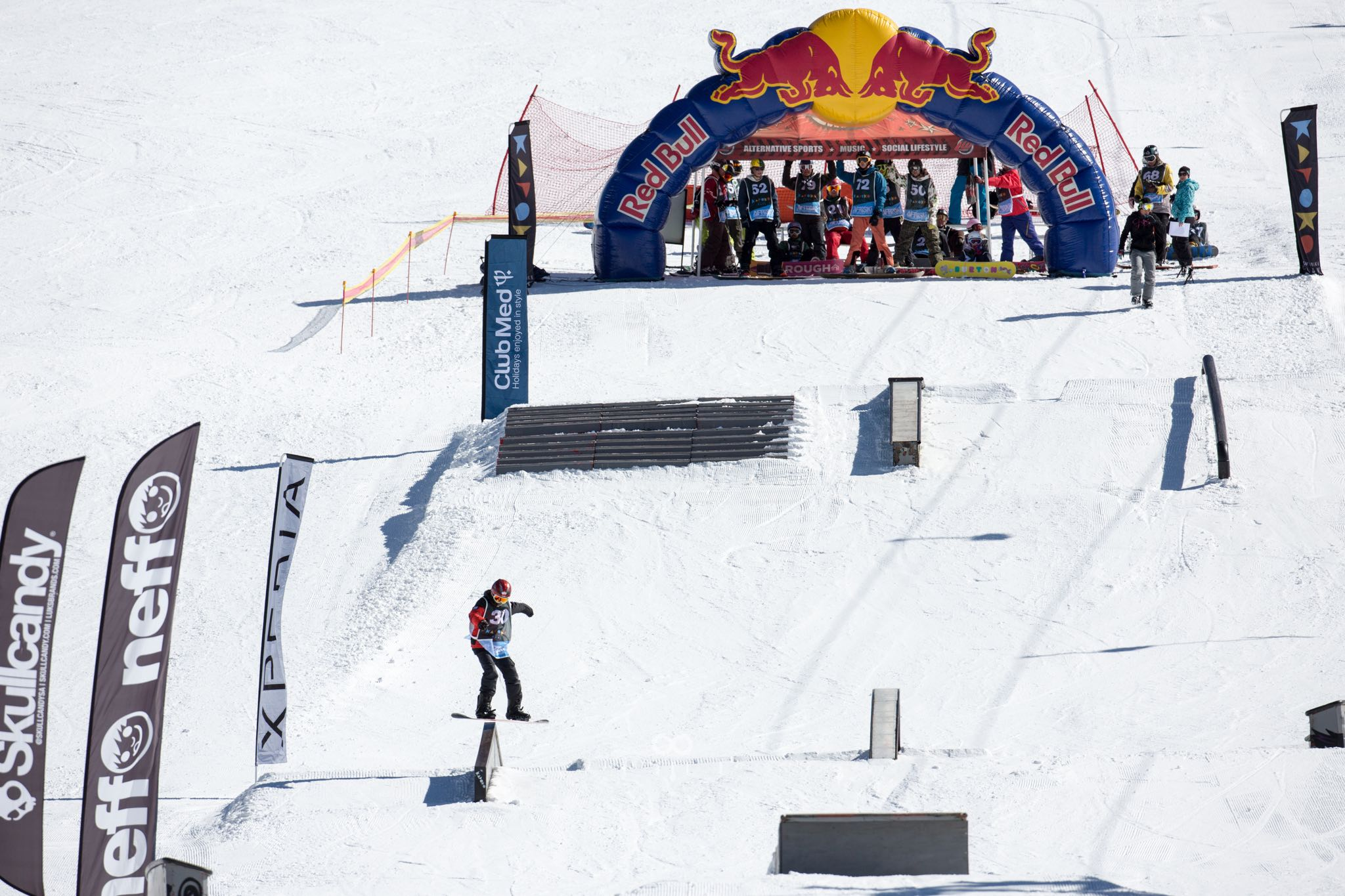 Snowboarders competing in the 2016 Xperia Winter Whip
