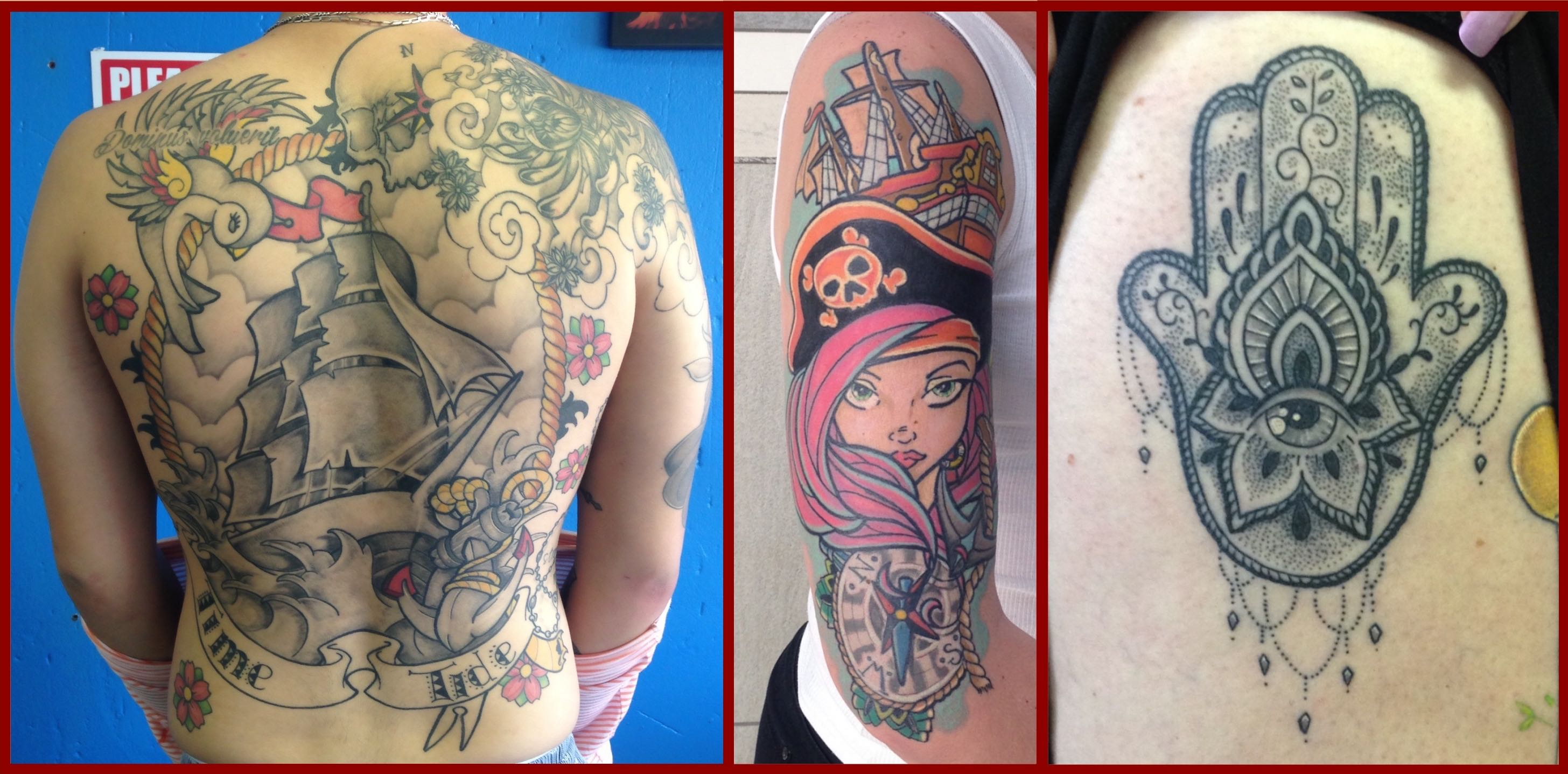 A selection of new school tattoos done by Alastair Magee