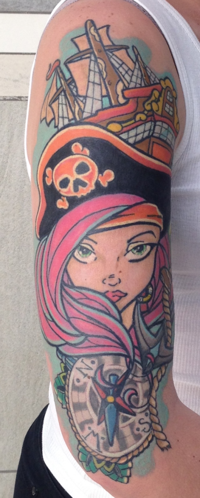 A new school tattoo creation by Alastair Magee