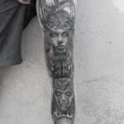 Back and Greay leg tattoo by Sean Perrins of The Black Lodge