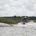 Cole Kraiss showing his talent at Stop 1 of the SA Wakeskate Tour