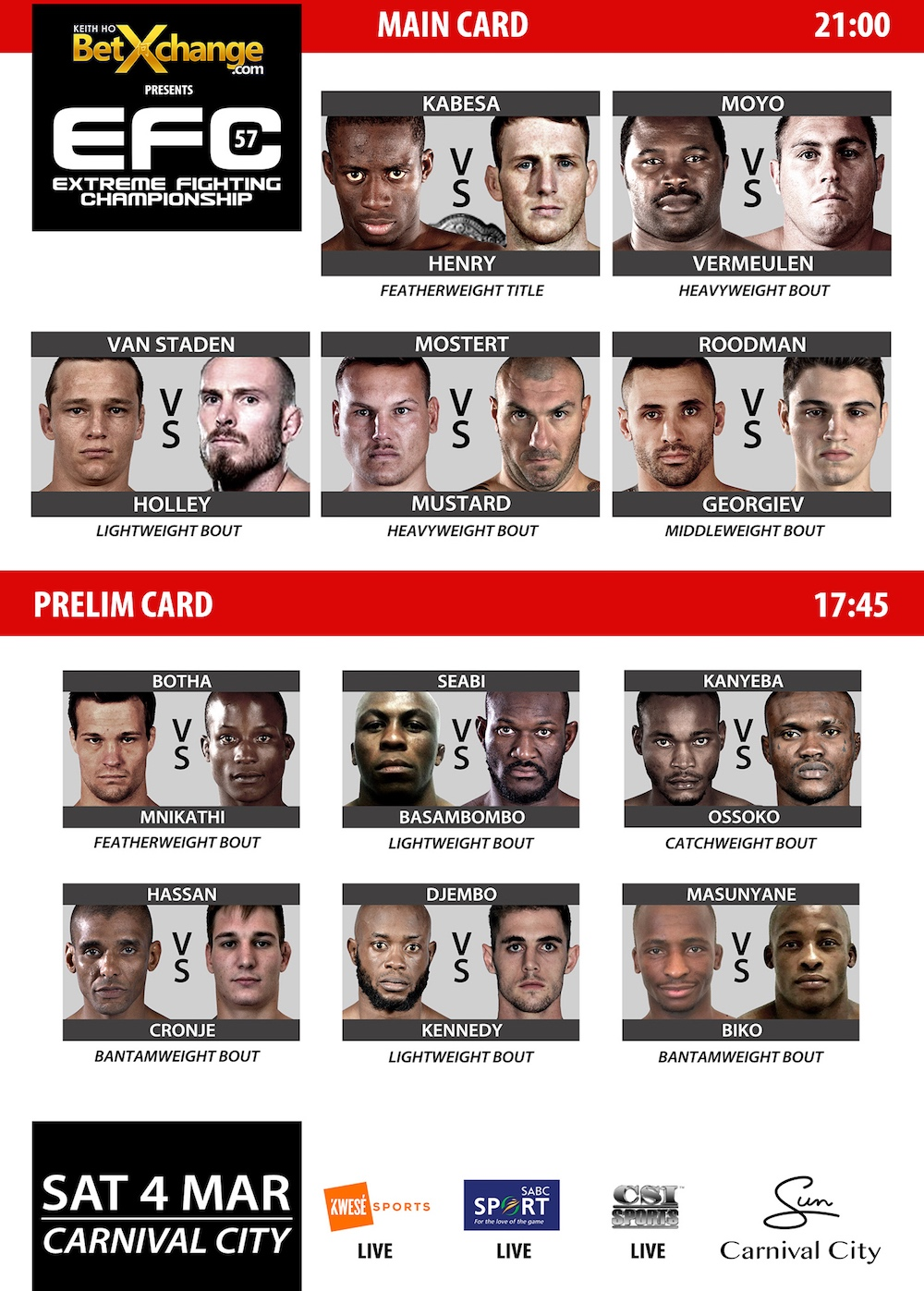 EFC 57 full fight card featuring 11 MMA Bouts