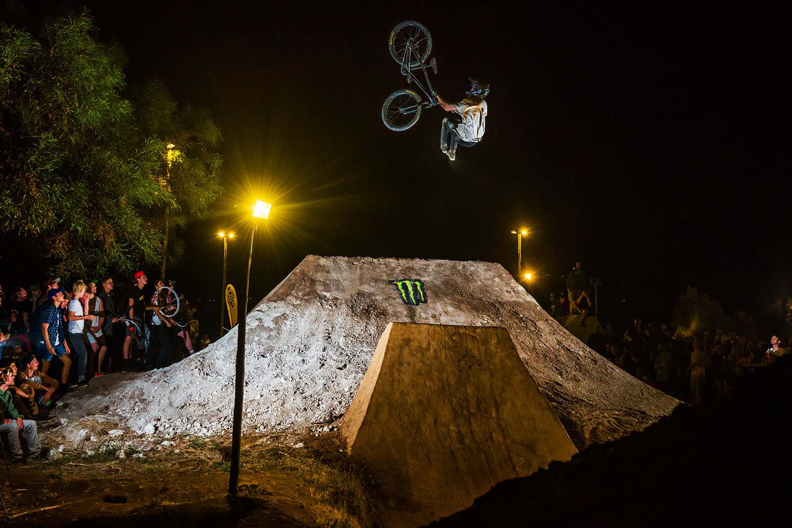The Night Harvest MTB Best trick winner Lukas Skiold sending a clean flip whip to barspin to take the best trick title