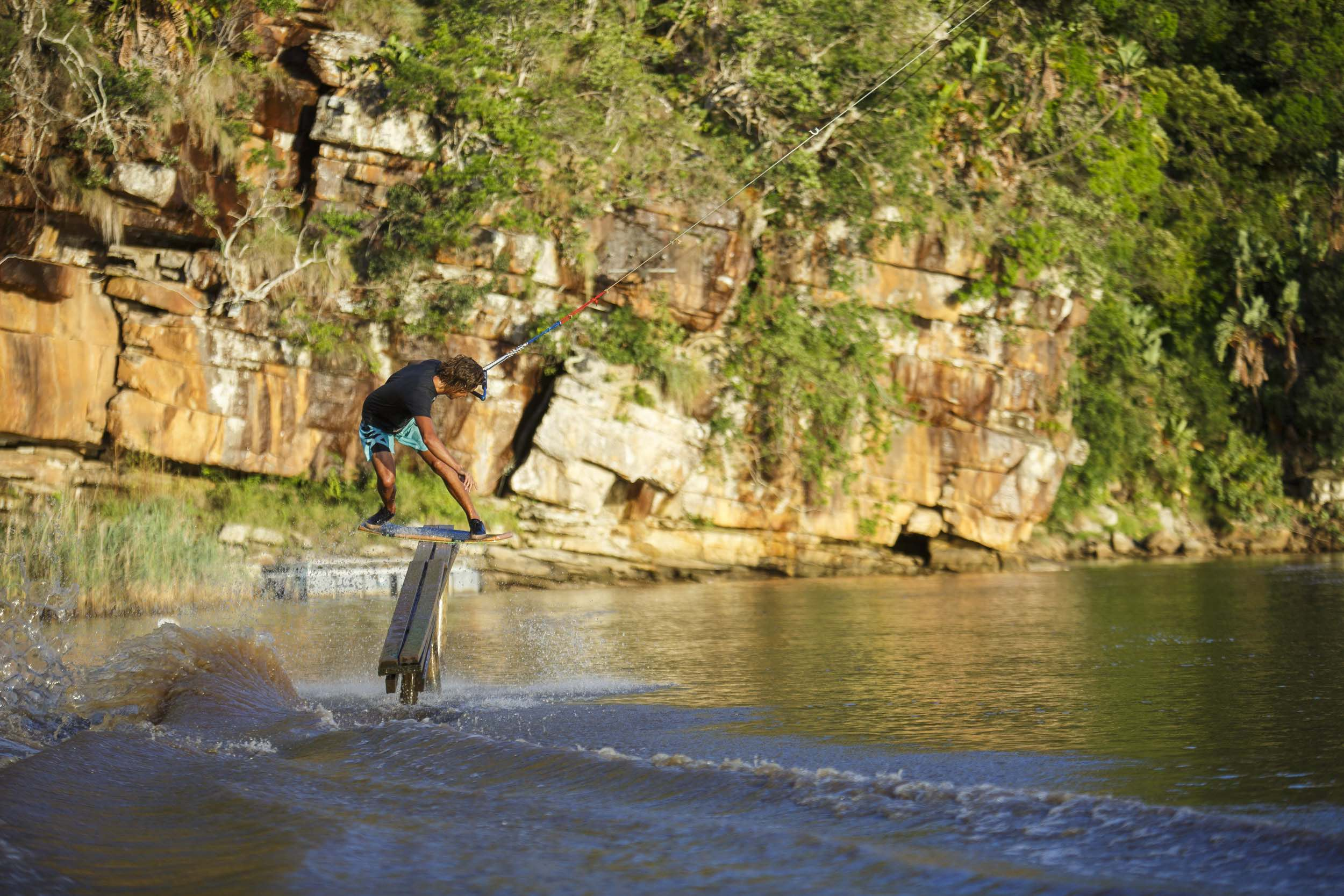 Matti Buys wake skating his way to victory at Stop 2 of the South African Wakeskate Tour