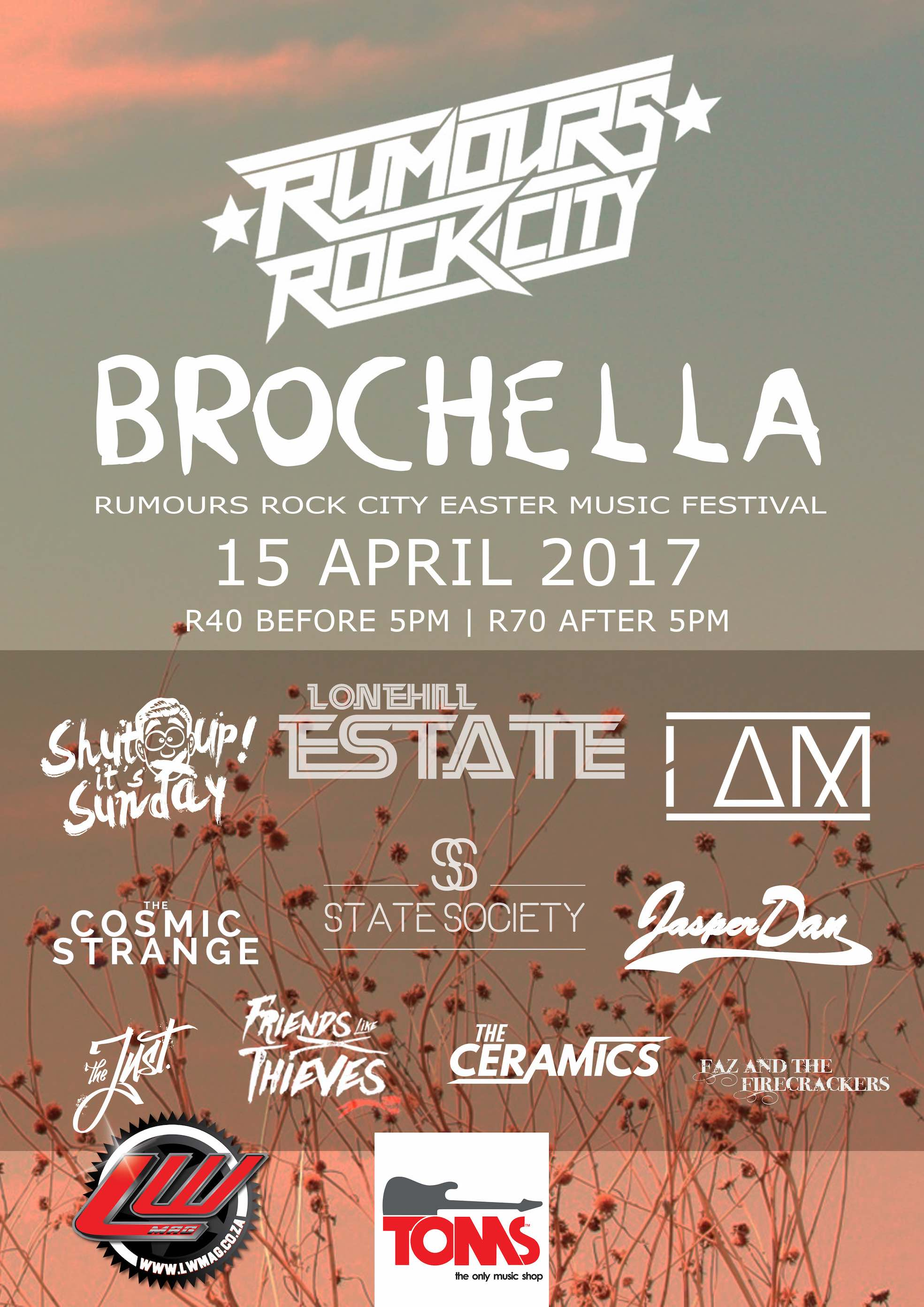 South African Music acts performing at the first annual Brochella Festival at Rumours Rock City