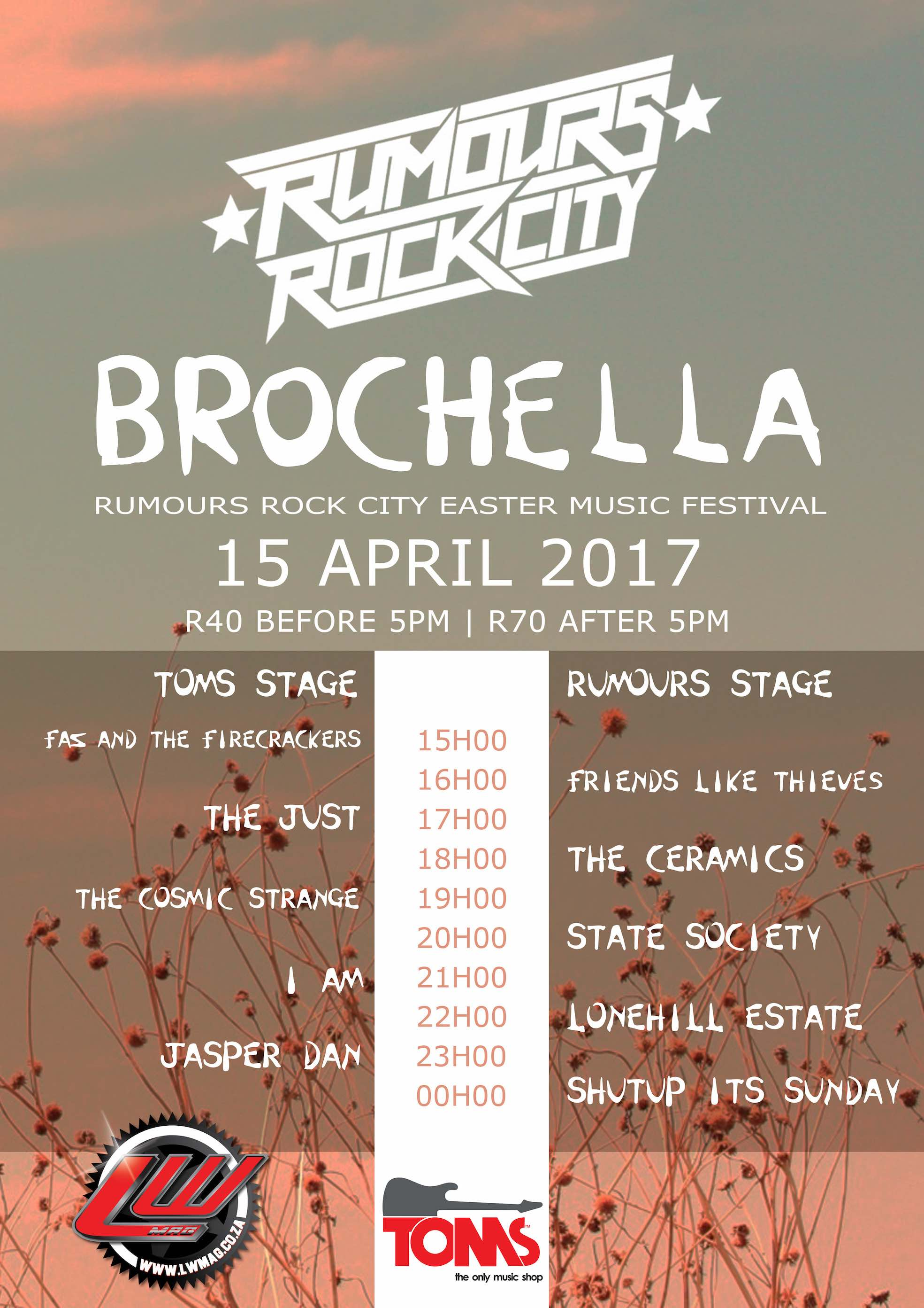 South African Music acts performing at the first annual Brochella Festival