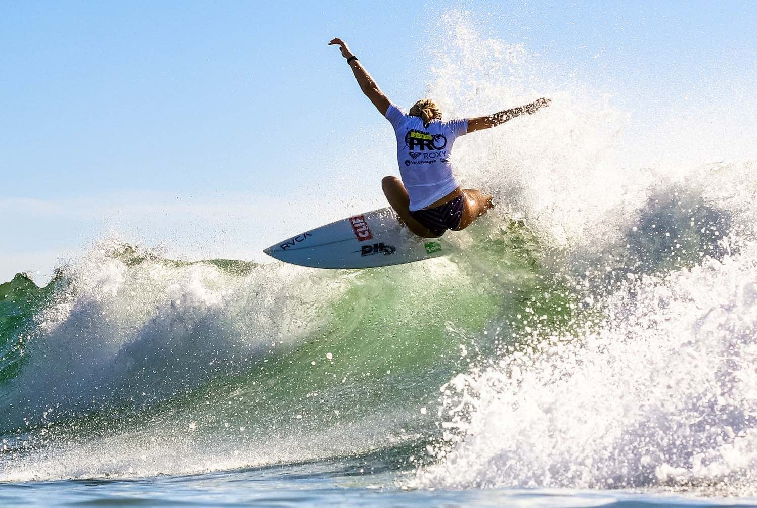 Zoe McDougall surfing her way to victory at the Corona Durban Surf Pro