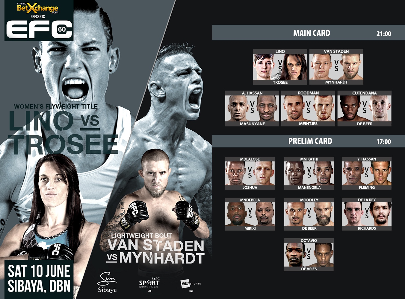 EFC 60 heads to Durban with 12 exciting Mixed Martial Arts fights