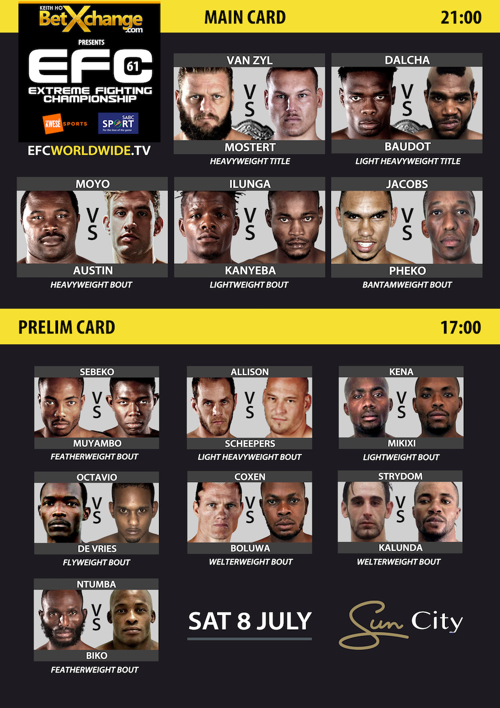Mixed Martial Arts action returns to Sun City for EFC 61