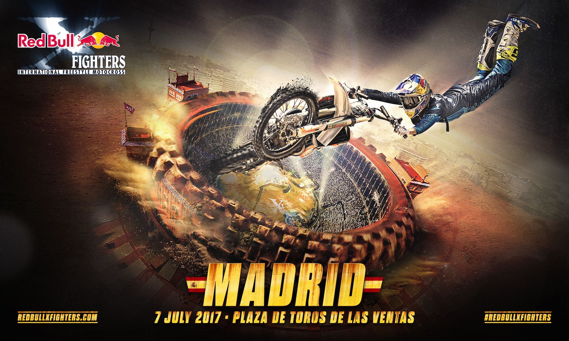 Witness the world's best FMX riders battling it out for the Red Bull X-Fighters title in Madrid. LIVE stream starts at 10:00pm on Friday 7 July.