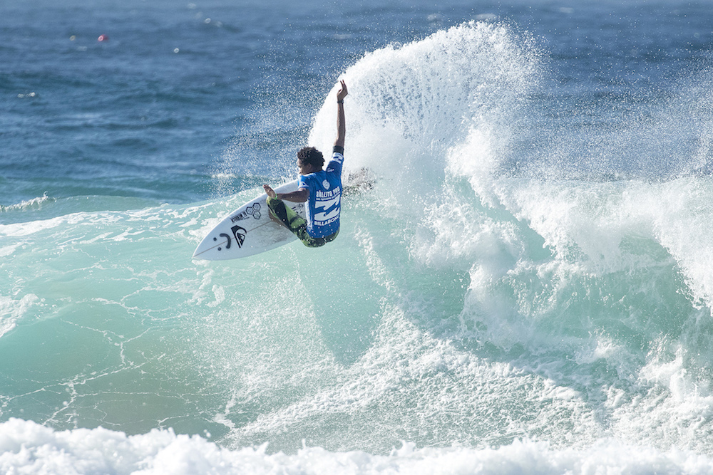 Michael February advancing through the quarter finals at the Ballito pro