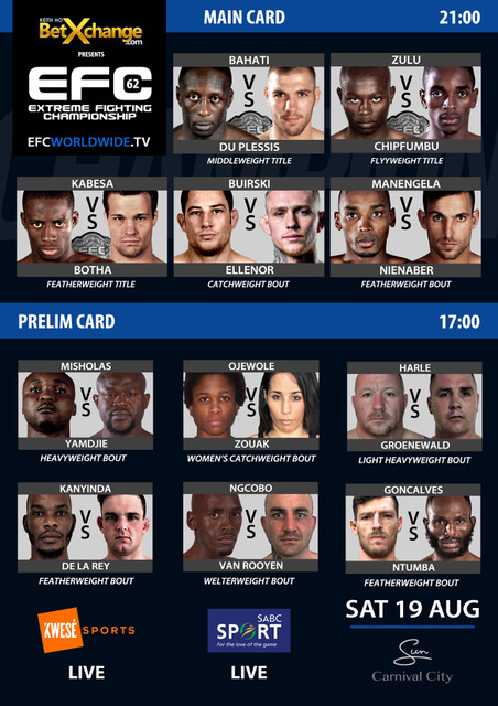 EFC 62 full MMA fight card