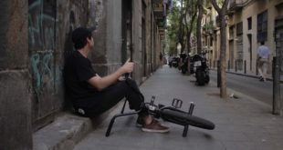 Brandon Blight and Werner Hendrich riding BMX in Barcelona