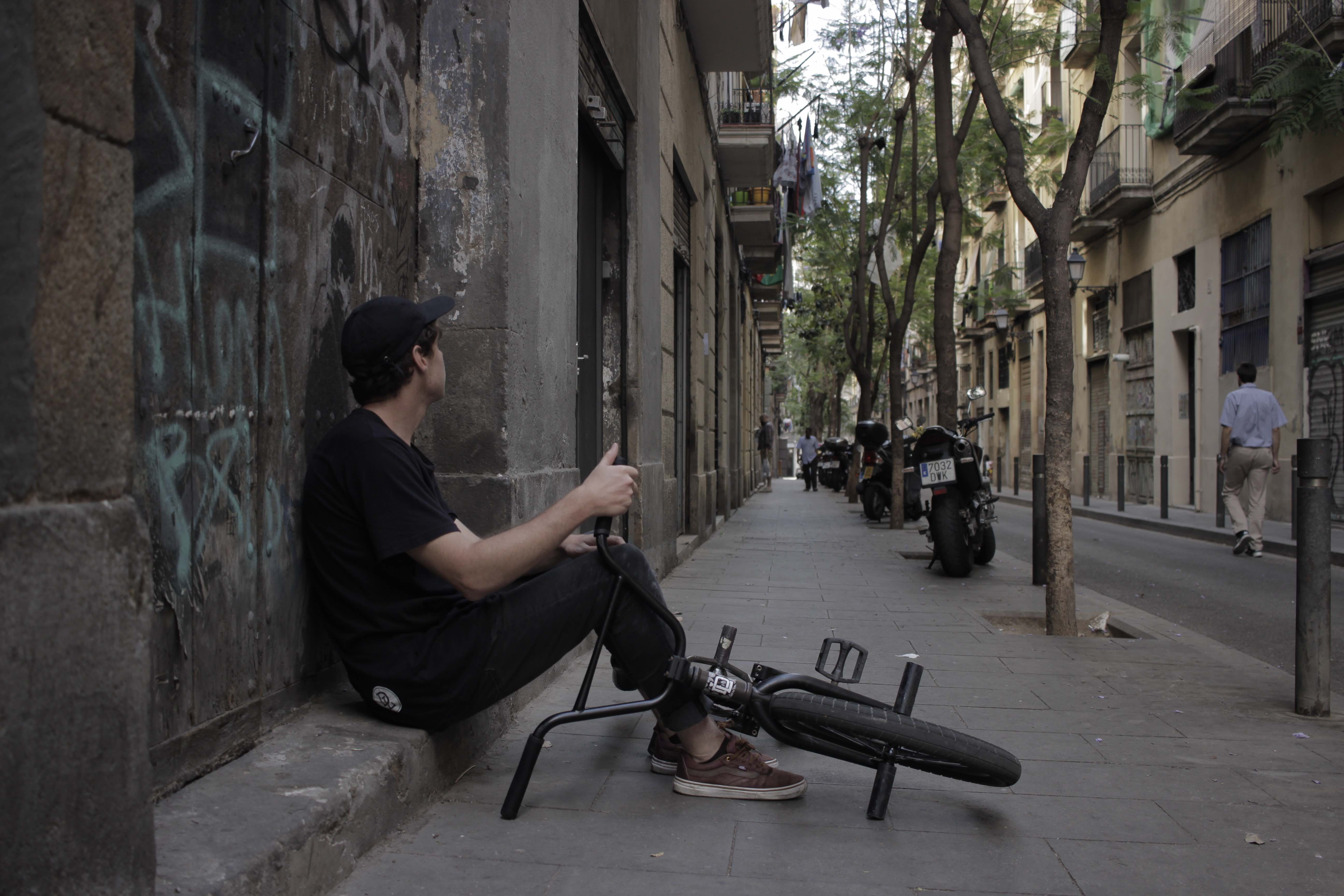 Brandon Blight and Werner Hendrich riding BMX street for their video part entitle Snacking Barcelona