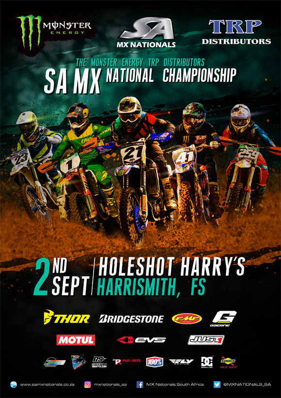 Details for the penultimate round of the 2017 Monster Energy TRP Distributors SA National Motocross Championship taking place at Holeshot Harry's in Harrismith: