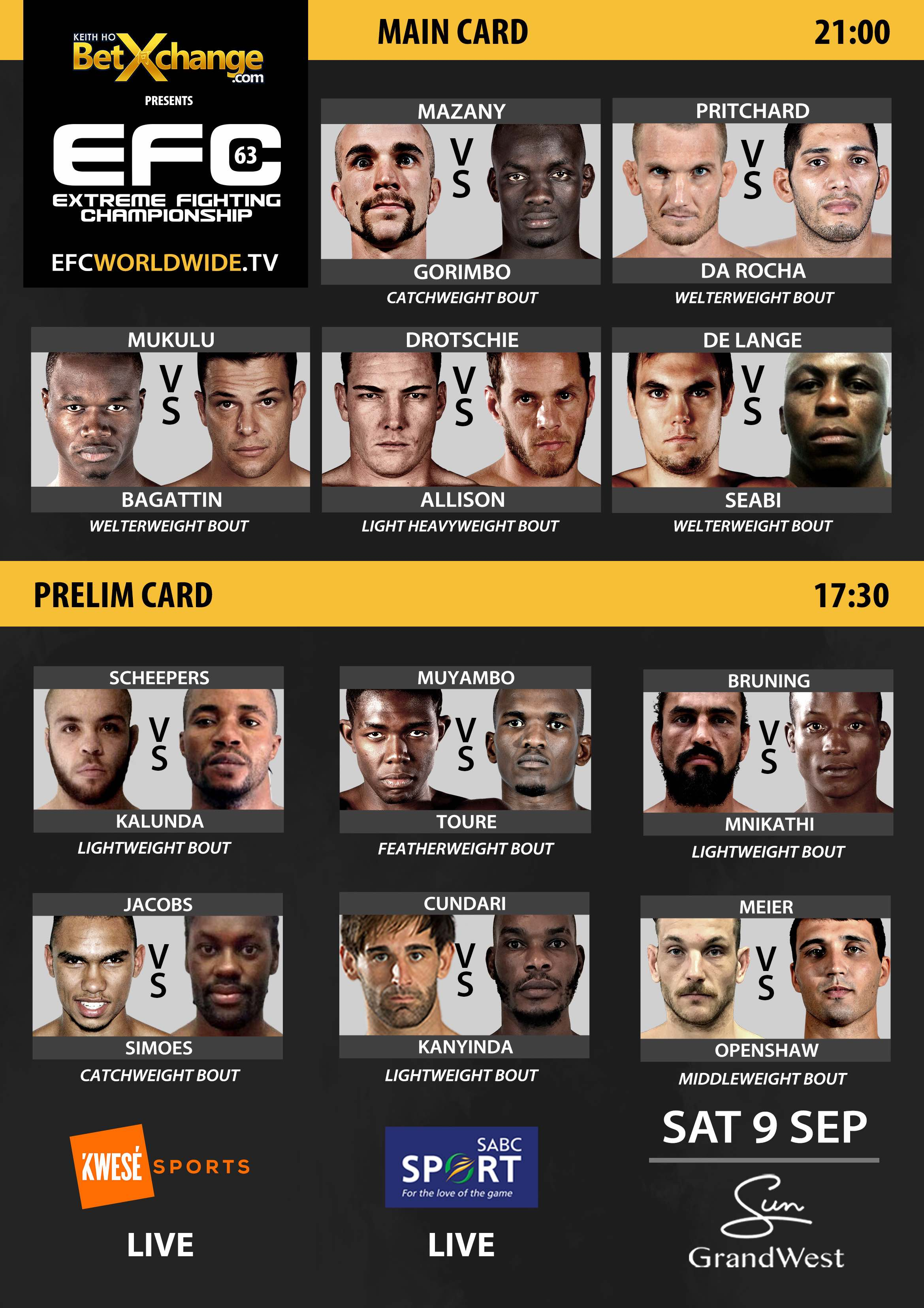 See the full Mixed Martial Arts fight card for EFC 63