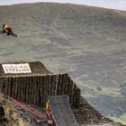 Downhill MTB rider Alexandre Fayolle performs at Red Bull Hardline in Wales