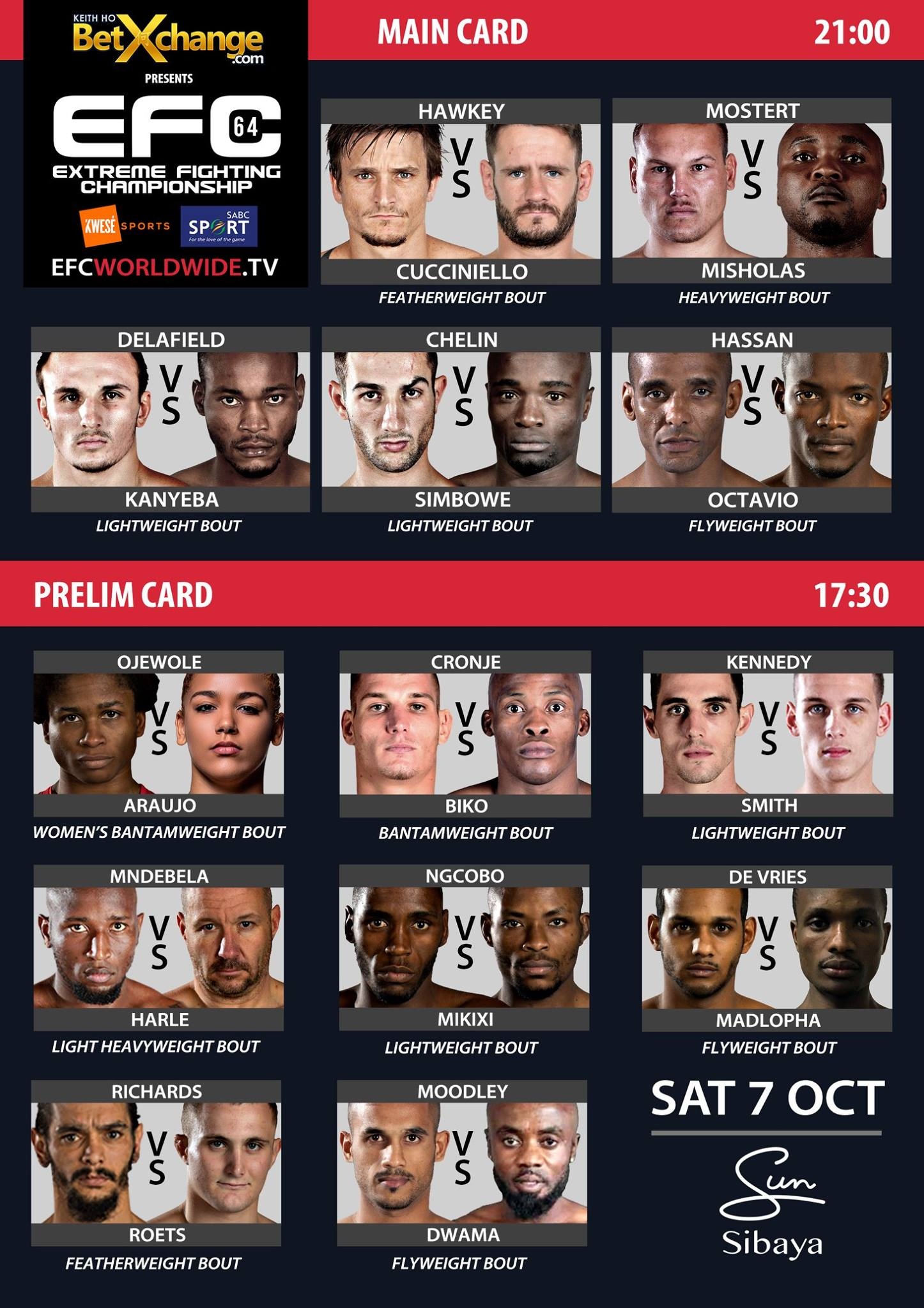 EFC 64 brings 13 exciting Mixed Martial Arts fights to Durban on 7 October 2017