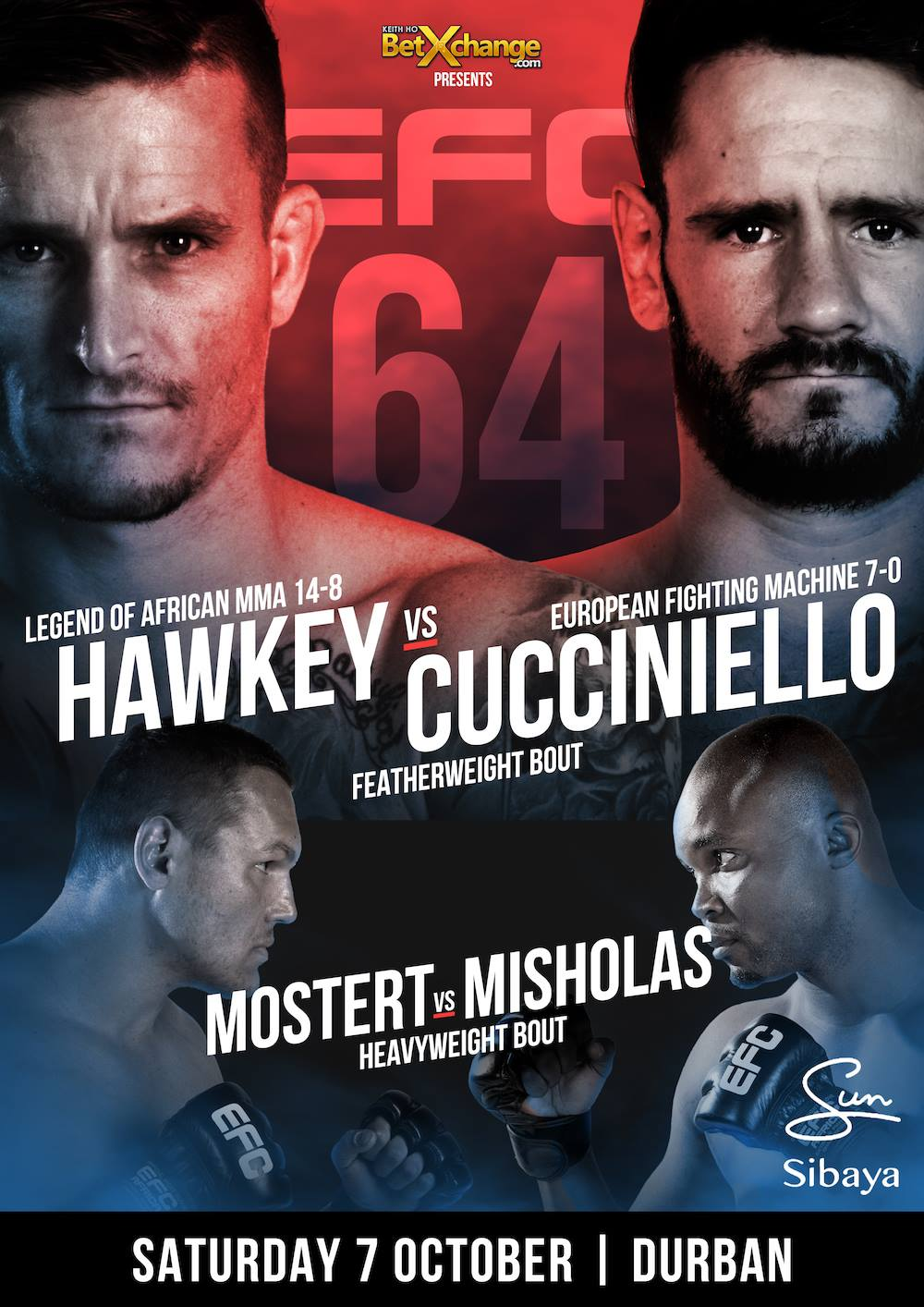 EFC 64 brings 13 exciting MMA fights to Durban on 7 October 2017