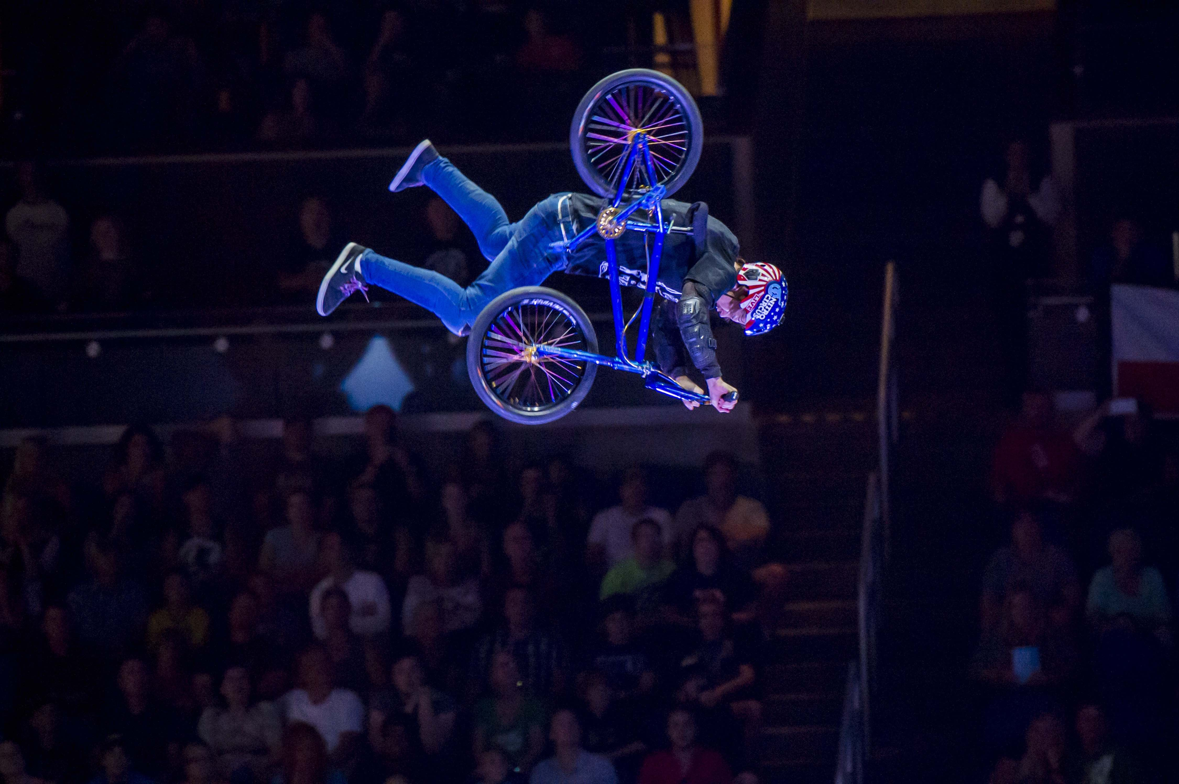 Ryan Williams showcasing his BMX skills at Nitro Circus Live