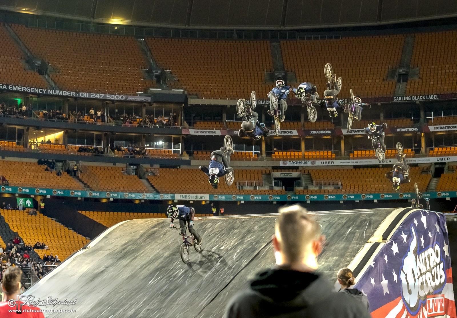 BMX rider James Foster landing a Triple Backflip at Nitro Circus Live