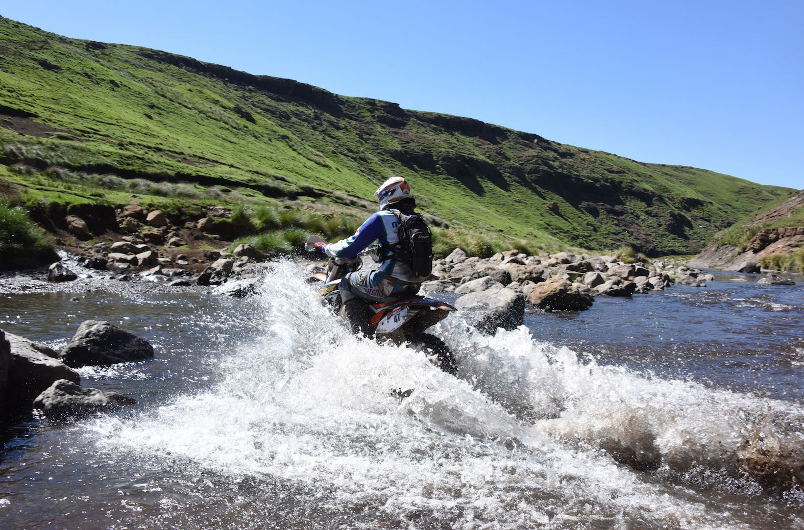 Rivers crossing at the Motul Roof of Africa extreme enduro event