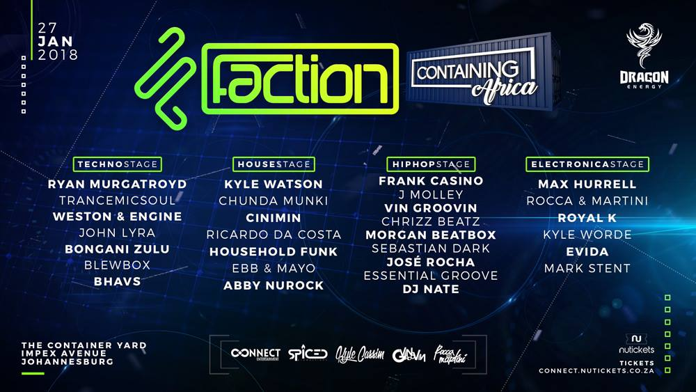 Faction FSTVL Containing Africa Artist Line-Up