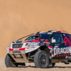 The T1 Nissan Navara rally car parked in the desert