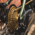 The SRAMthe gold XX1 drivetrain on the Santa Cruz Bronson