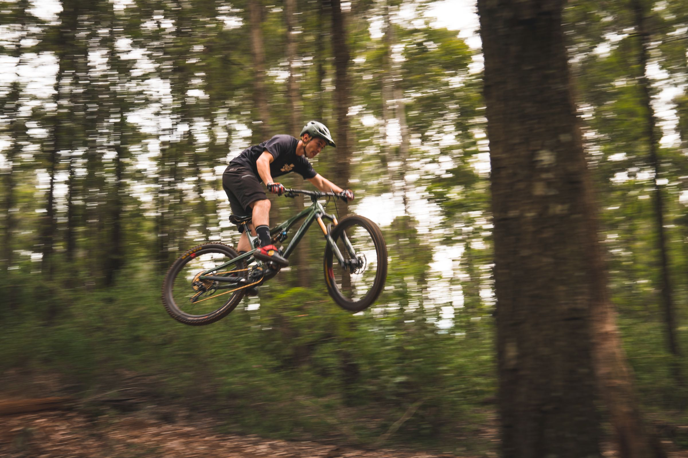 Enduro MTB rider Samm Bull riding in the KZN forests