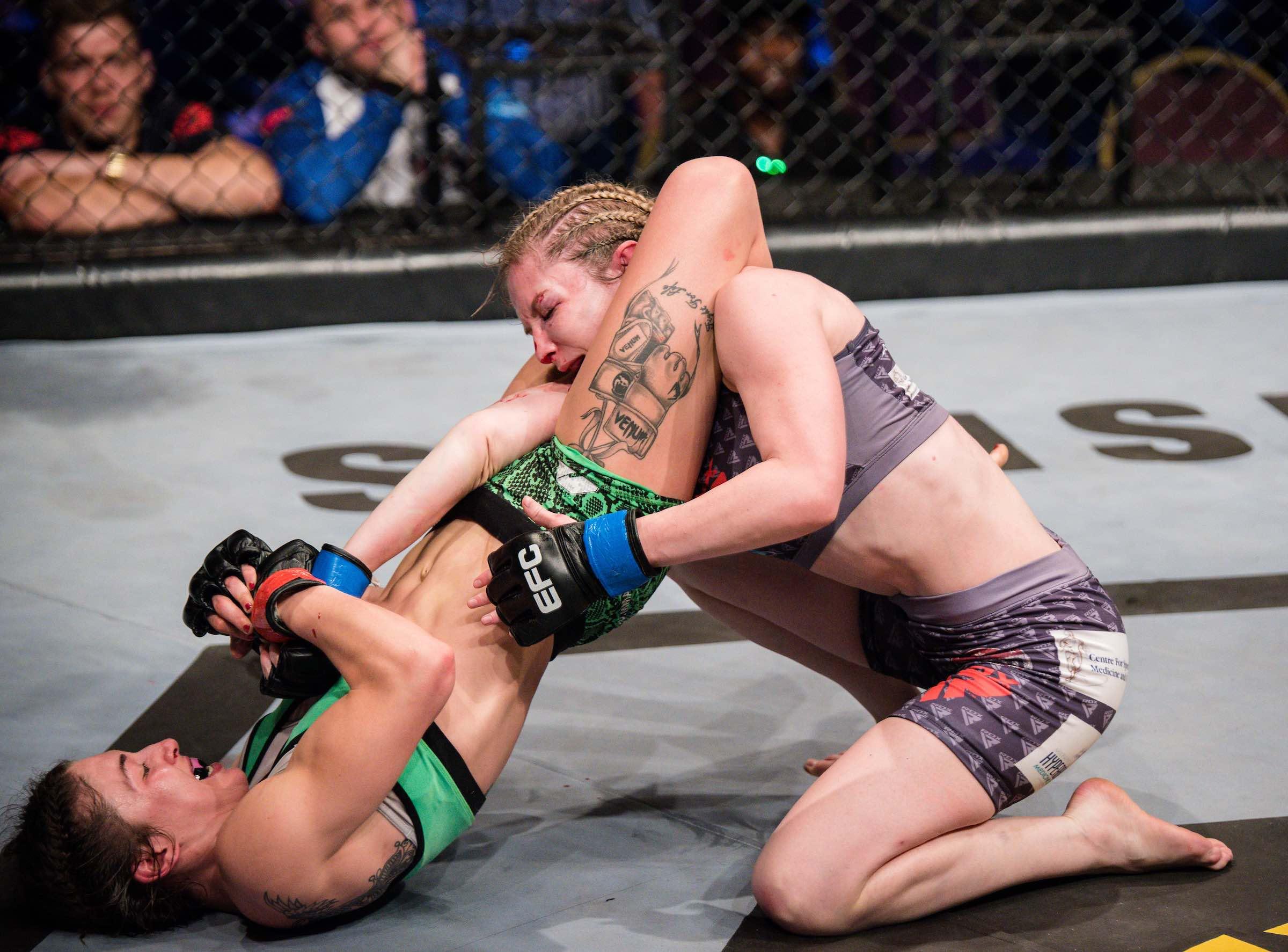 Chiara Penco showcasing her MMA skills to take the Women's Strawweight EFC Title