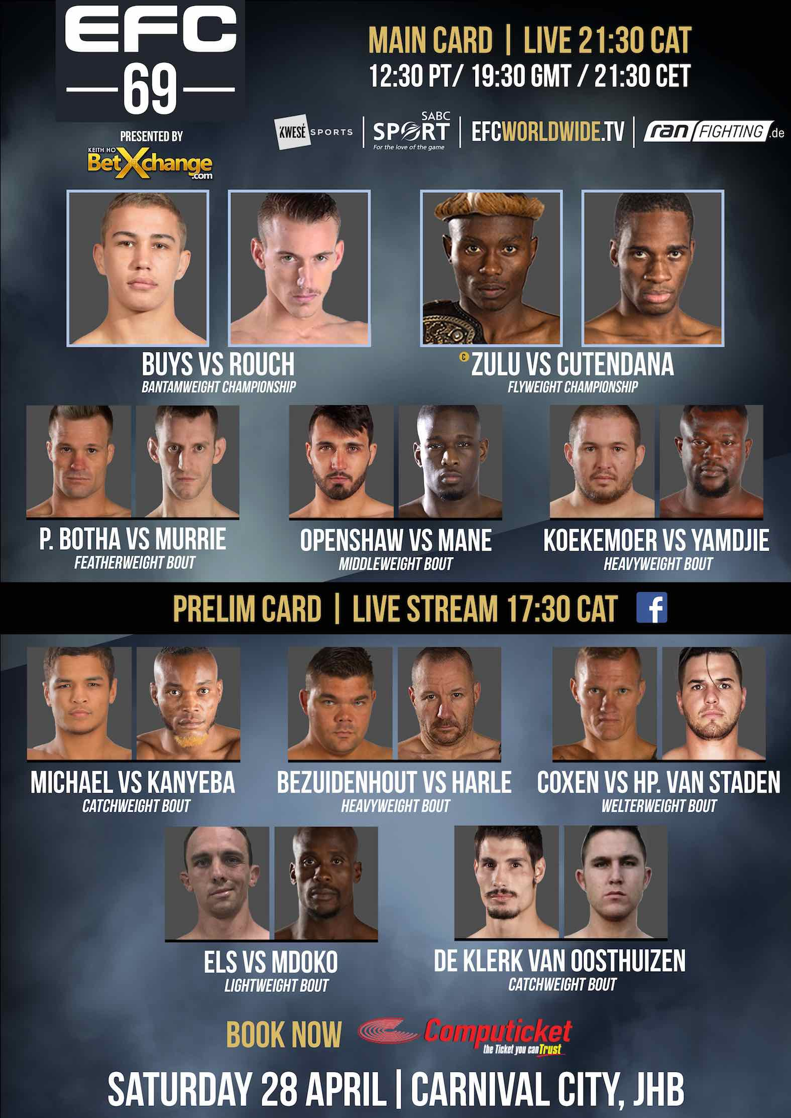EFC 69 fight card featuring 10 MMA fights